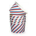 Dishy Ice Cream Cups 10pk Blue Red Stripe