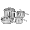 Scanpan Clad 5 4pc Set w/ Stockpot, Saute Pan & 2 Saucepans